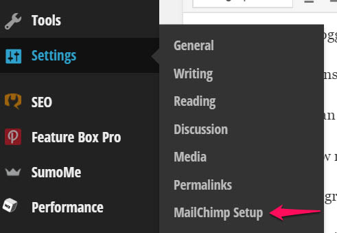 Mailchimp settings page