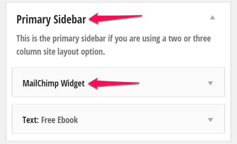 Mailchimp email widget