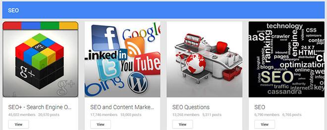Select a relevant Google Plus community
