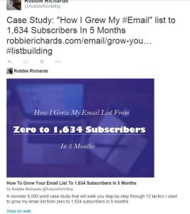 Example of twitter card to promote blog post.
