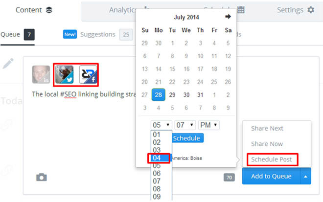 Scheduling blog post promotion in Buffer