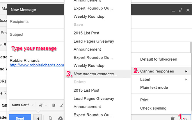 Gmail canned response screenshot