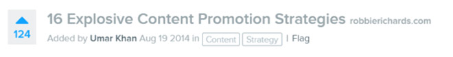 Inbound upvotes for content promotion