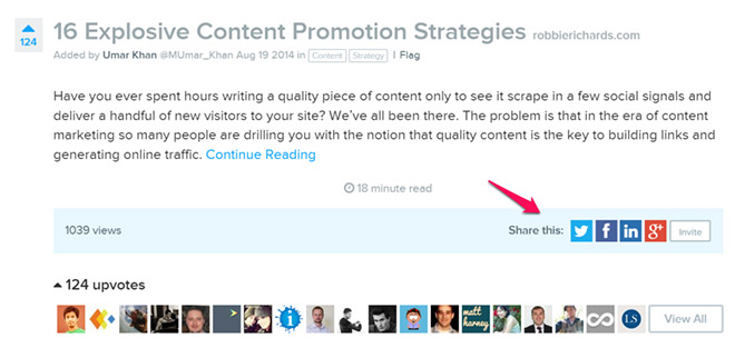 Social sharing within inbound
