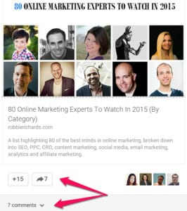 Influencers helping to promote my blog post.