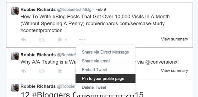 How to pin a tweet to promote your blog post.