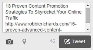 Tweet snippet for blog post promotion