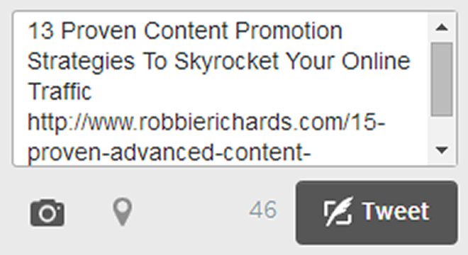 Tweet snippet for blog post promotion