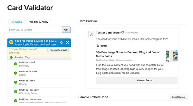 Message from Twitter card validator