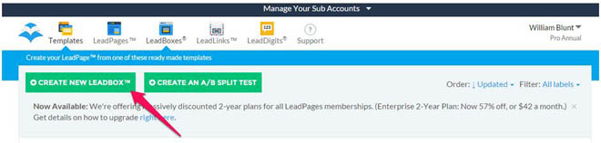 Create the optin form using LeadPages copy