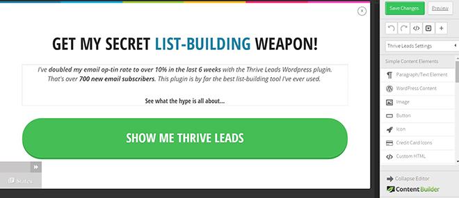 Thrive Leads form editor