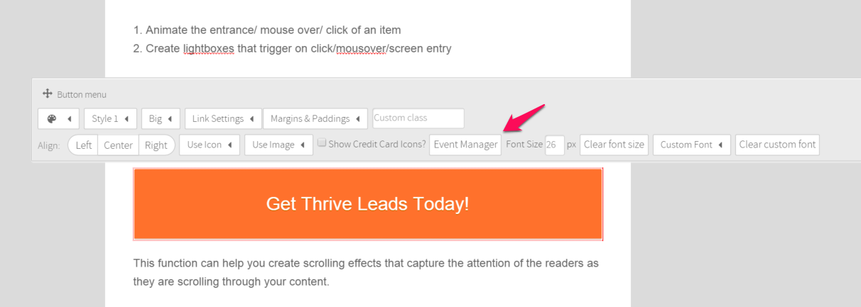 Thrive Leads event manager