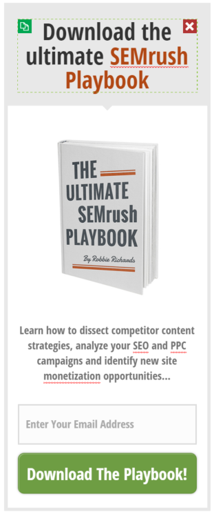 Thrive Leads widget for semrush playbook