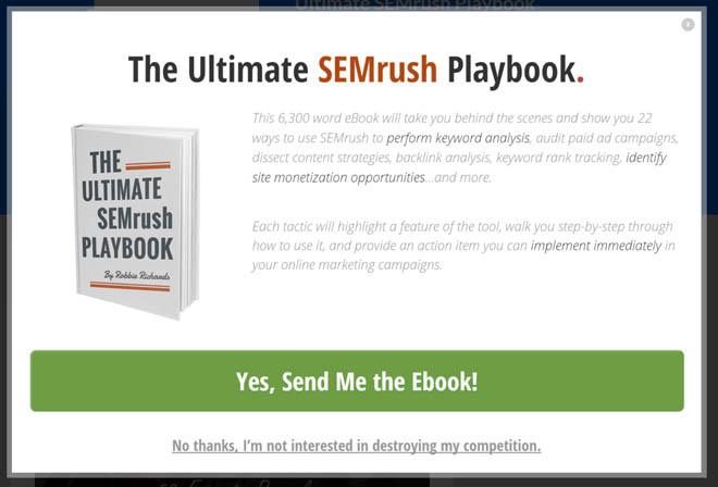 Semrush lightbox popup