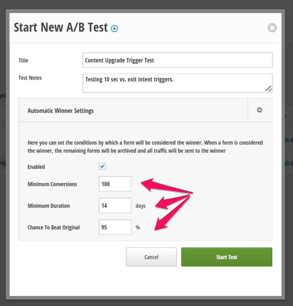 Thrive leads ab test different form triggers