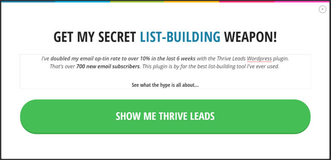 If the reader clicks yes they will see a popup with a call-to-action linking to the Thrive Leads sales page: