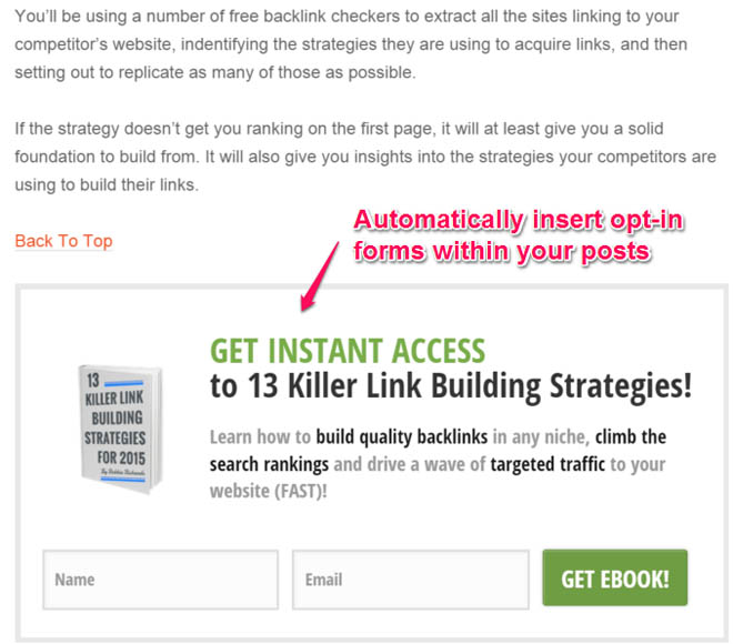 Thrive leads in-content opt-in forms