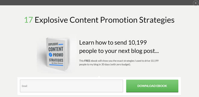Thrive Leads content promotion ebook lightbox