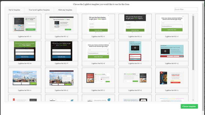 Thrive leads opt-in template library