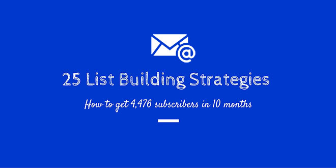 25 list building strategies zero to 4,476 email subscribers25 actionable list building strategies
