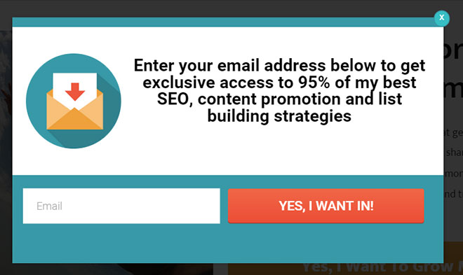 Squeeze page popup