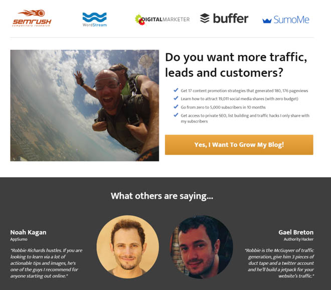 List building with a squeeze page
