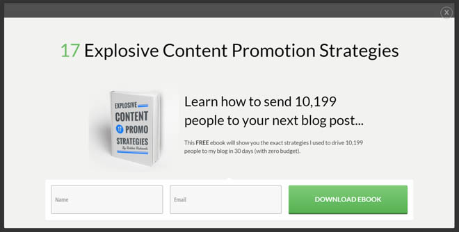List building with content promotion ebook popup