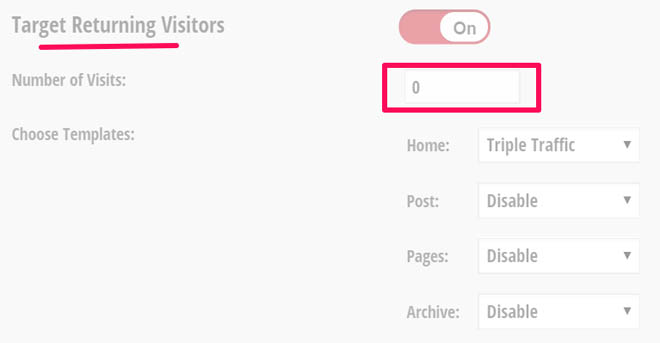 Feature box target returning visitors