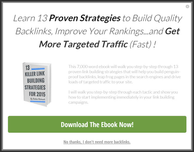 Link building ebook exit intent popup