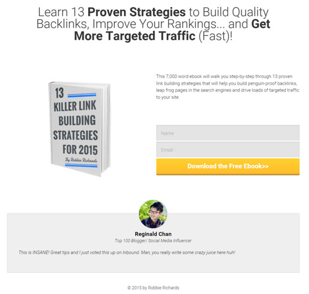 Link building ebook squeeze page