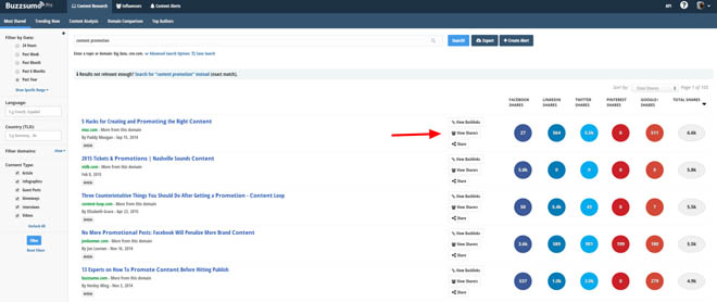 List building with buzzsumo