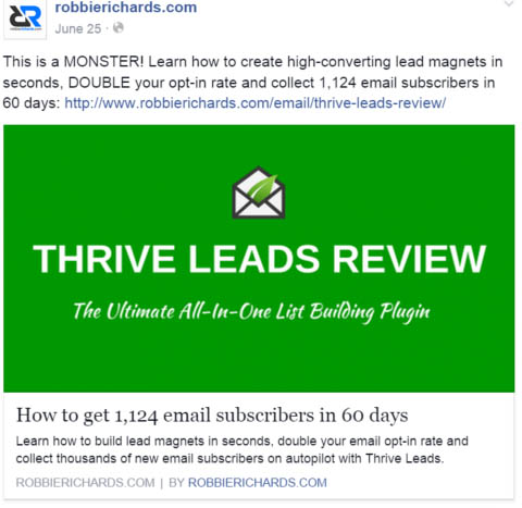 List building with facebook ads