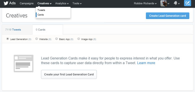 List building with lead generation cards