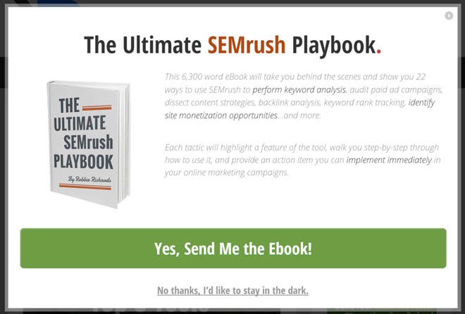 SEMrush content upgrade popup