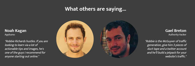 Squeeze page testimonials