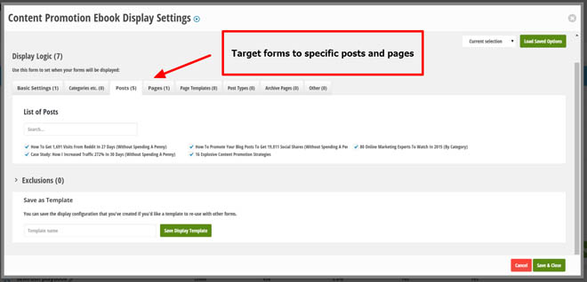 Target sidebars to specific posts and pages