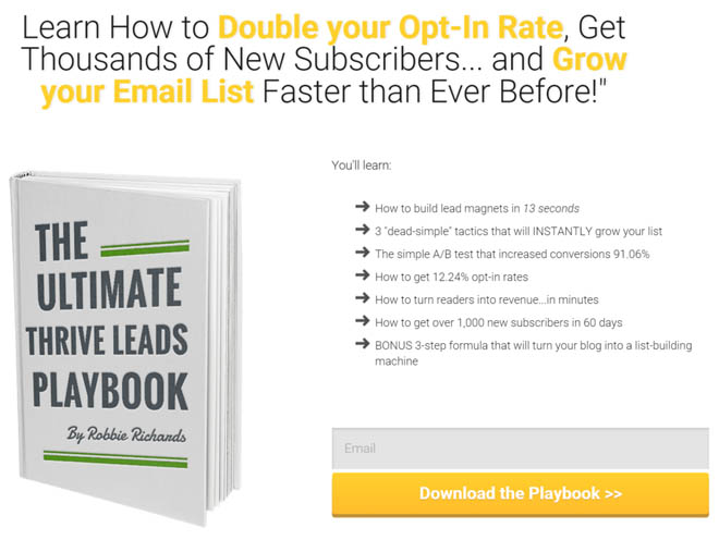 Thrive leads playbook squeeze page