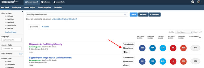 View sharers in Buzzsumo