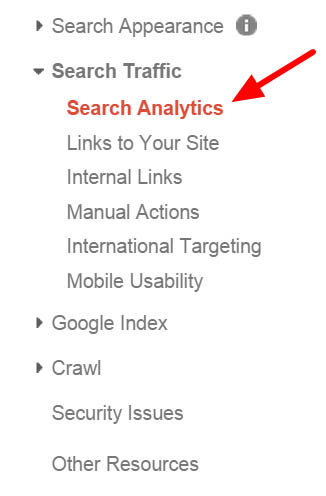 Search Analytics report in Google Search Console