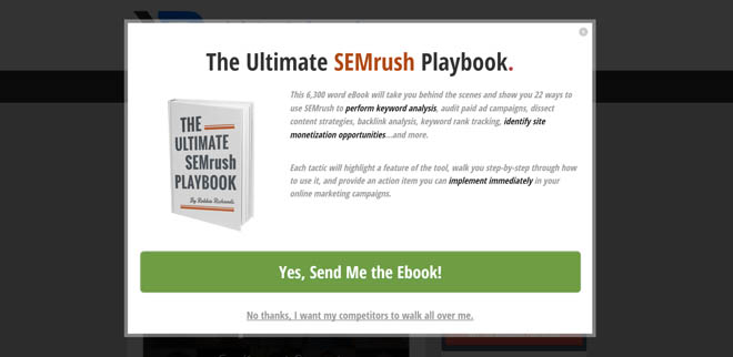 SEMrush popup content upgrade