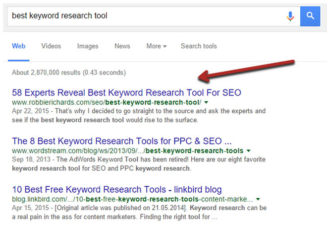 Expert roundup ranking #1 in Google