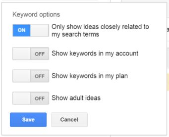 Find close keyword variations in Google Keyword Planner