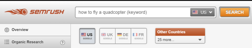 Enter your target search term in SEMrush