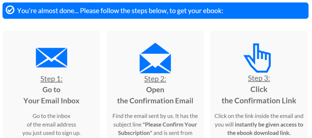 Confirmation page people see immediately after opting in