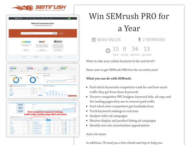 SEMrush giveaway landing page