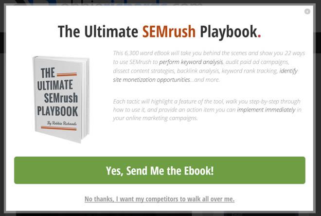 SEMrush popup giveaway