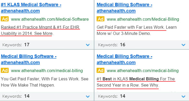 Text used in competitor PPC ad copy