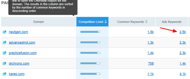 Paid search competitors report 4