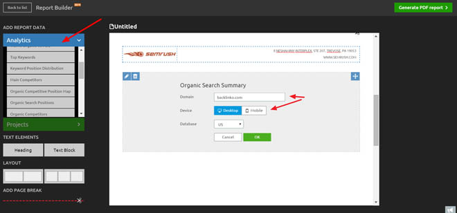 Semrush report builder