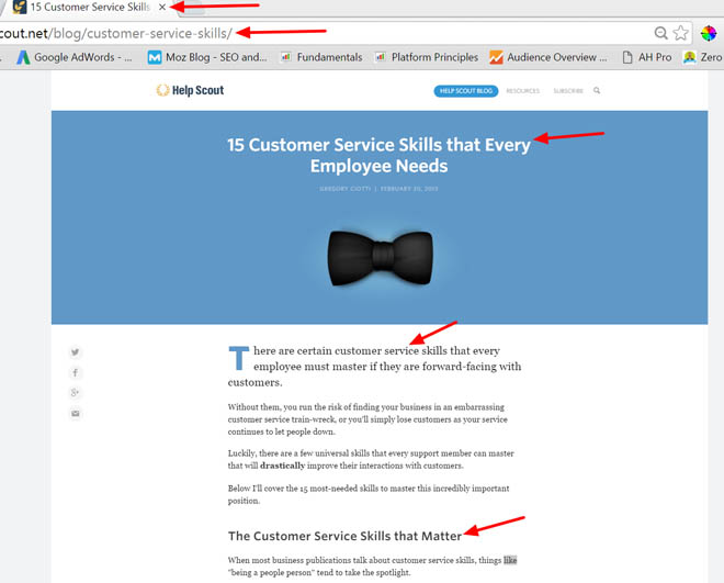 Example of Helpscout's on-page optimization